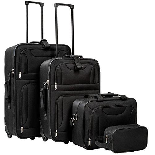 TecTake 4 teiliges Reisekofferset Textilkoffer Trolley | mit Rollen | vier Größen | schwarz