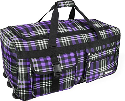 leichte xxl reisetasche rollenreisetasche trolley sporttasche mit rollen farbe karo purple yrrak. Black Bedroom Furniture Sets. Home Design Ideas