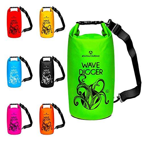 Outdoor Stausack Wasserdicht Packsack mit verstellbarem Schultergurt f/ür Strand Bootfahren Angeln Kajaken Kanufahren Schwimmen Skifahren Snowboarden Camping /& Wandern Gelb MoKo 10L Trockentasche