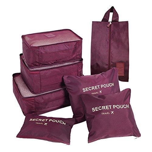 FunYoung Kleidertaschen-Set 7-teilig Reisetasche in Koffer Wäschebeutel Schuhbeutel Kosmetik Aufbewahrungstasche Farbwahl Weinrot