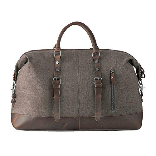 Canvas Weekender P.KU.VDSL Reisetasche Handgepäck Weekender Travel Duffel Bag Leder Canvas Groß für Damen Herren am Wochenend Kaffee
