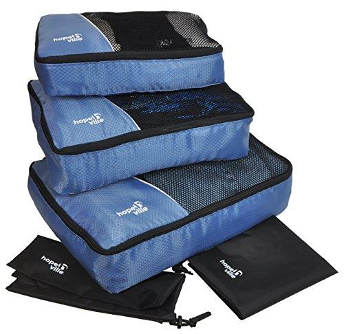 PLUS einem Wäschebeutel und einem Schuhbeutel, Premium Packing Cubes für perfekt organisiertes Reisegepäck Blau – HOPEVILLE Kleidertaschen-Set 5-teilig, mit 3 Koffertaschen
