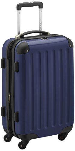 Handgepäck Hartschalen-Koffer Trolley Rollkoffer Reisekoffer Erweiterbar, 4 Rollen, 55 cm, 42 Liter, Dunkelblau – Alex – HAUPTSTADTKOFFER
