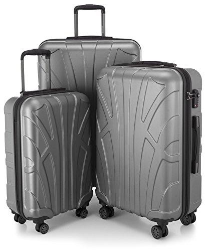 3er koffer set trolley set rollkoffer hartschalen koffer reisekoffer tsa s m l silber. Black Bedroom Furniture Sets. Home Design Ideas