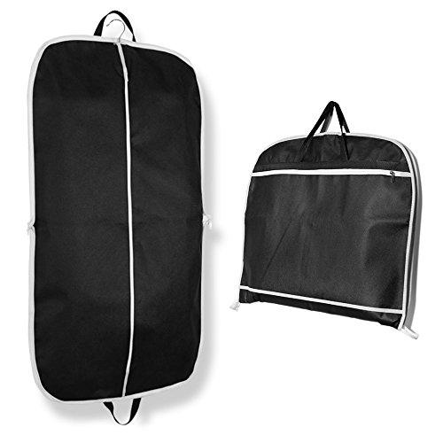 Umklappbar Kleidersack für Anzüge und Kleider, Bidear Atmungsaktiv Staubdicht Mantel Schützend Sack mit Griff zum Reise – 110 x 60 cm Schwarz