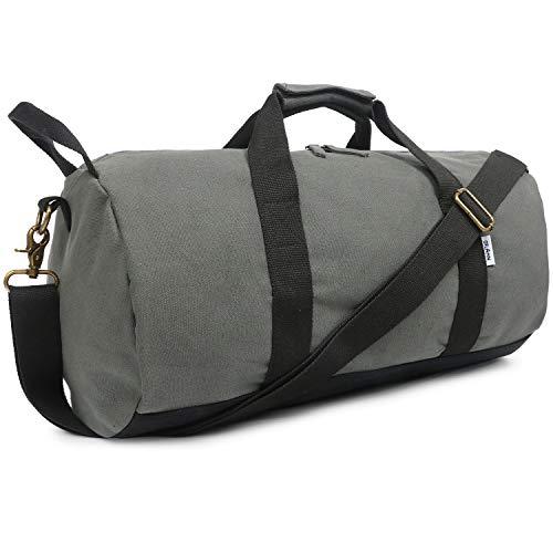 Travel Duffel Bag & Sports Gym Bag 2.0 grau – Sporttasche Segeltuch Trainingstasche – Oflamn Kleine Reisetasche für Männer und Damen