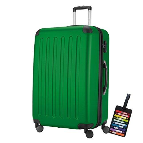 Spree Hartschalen-Koffer-XL Koffer Trolley Rollkoffer Reisekoffer Erweiterbar, 4 Rollen, TSA, 75 cm, 119 Liter, Grün +Design Kofferanhänger – Hauptstadtkoffer
