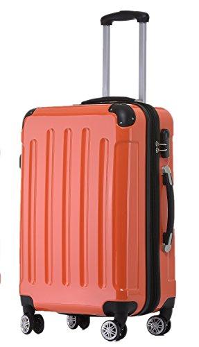 BEIBYE Zwillingsrollen 2048 Hartschale Trolley Koffer Reisekoffer Taschen Gepäck in M-L-XL-Set Orangen, L