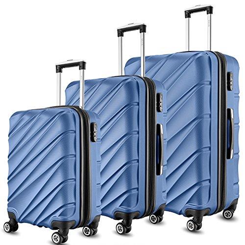 SHAIK  Serie CANDY Design LHR 3 Größen M | L | XL | Set | TSA Schloss Hartschalen Kofferset 45/78/124 Liter, 4 Doppelrollen, 25% mehr Volumen durch Dehnfalte Himmelblau, 3er Set