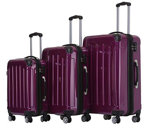 BEIBYE Zwillingsrollen 2048 Hartschale Trolley Koffer Reisekoffer Taschen Gepäck in M-L-XL-Set Lila, Set