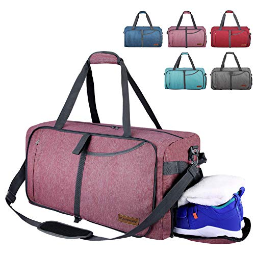 CANWAY Faltbare Reisetasche faltbar leichte Sporttasche mit Abnehmbarem Schulterriemen und Schuhfach Reisegepäck für Reisen Sport Gym Urlaub mit der Großen Kapazität Dunkelrot, 85L