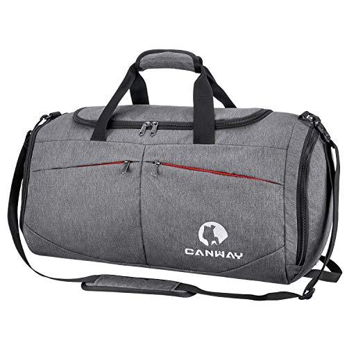 CANWAY Faltbare Sporttasche Faltbare Reisetasche mit dem schmutzigen Fach und Schuhfach Leichtgewicht für Männer und Frauen Grau
