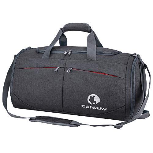 CANWAY Faltbare Sporttasche Faltbare Reisetasche mit dem schmutzigen Fach und Schuhfach Leichtgewicht für Männer und Frauen Schwarz