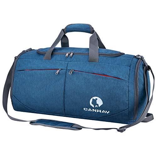 CANWAY Faltbare Sporttasche Faltbare Reisetasche mit dem schmutzigen Fach und Schuhfach Leichtgewicht für Männer und Frauen Blau