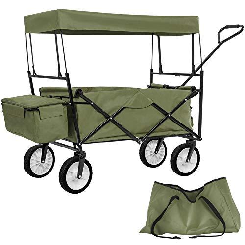 Grün | Nr. 402317 – TecTake Faltbarer Bollerwagen mit Dach und extra Tragetasche – Diverse Farben