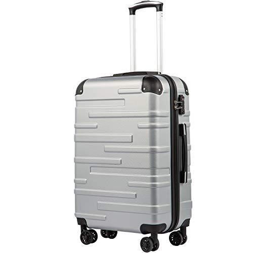 COOLIFE Hartschalen-Koffer Rollkoffer Reisekoffer Vergrößerbares Gepäck Nur Großer Koffer Erweiterbar ABS Material mit TSA-Schloss und 4 RollenSilber, Mittelgroßer Koffer