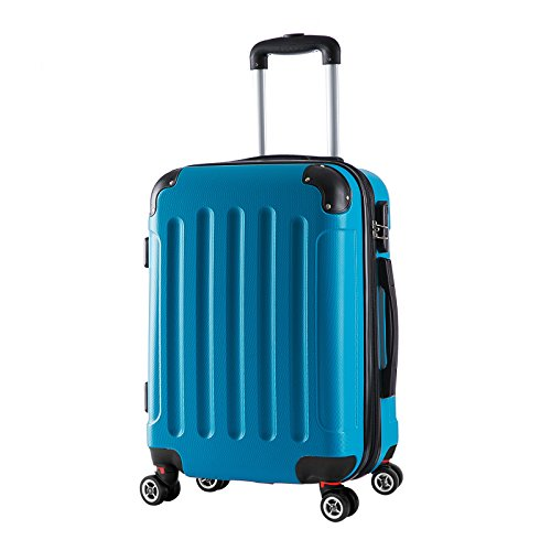 WOLTU RK4201ts, Reise Koffer Trolley Hartschale Volumen erweiterbar, Reisekoffer Hartschalenkoffer 4 Rollen, M/L/XL/Set, leicht und günstig, Türkis M, 55 cm & 42 Liter