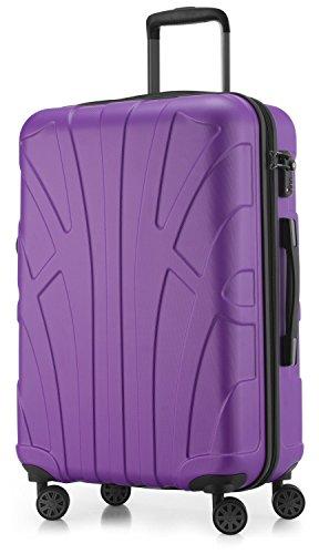 SUITLINE – Hartschalen-Koffer Koffer Trolley Rollkoffer Reisekoffer, TSA, 66 cm, 68 Liter, Lila/Aubergine