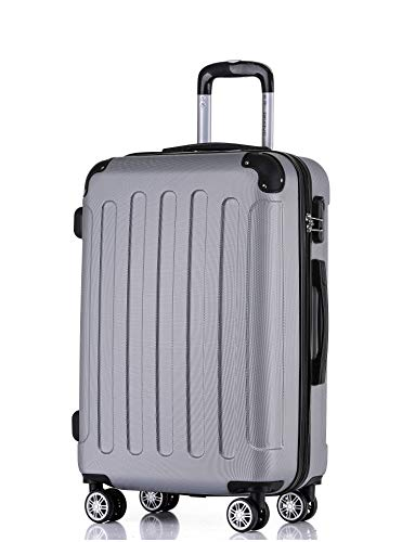 BEIBYE Hartschalen-Koffer Trolley Rollkoffer Reisekoffer Handgepäck 4 Rollen M-L-XL-Set Silber, L