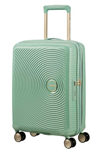 American Tourister Soundbox – Spinner Small Expandable Koffer, 55 cm, 41 Liter, Almond Green/Gold