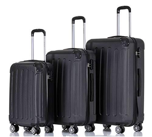 BEIBYE Hartschalen-Koffer Trolley Rollkoffer Reisekoffer Handgepäck 4 Rollen M-L-XL-Set Schwarz, Set