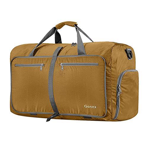 Gonex Leichter Faltbare Reise-Gepäck 60L, Farbe: Blond, Duffel Taschen Uebernachtung Taschen/Sporttasche für Reisen Sport Gym Urlaub