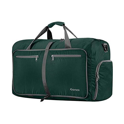 Gonex Leichter Faltbare Reise-Gepäck 40L, Farbe: Dunkelgrün, Duffel Taschen Uebernachtung Taschen/Sporttasche für Reisen Sport Gym Urlaub