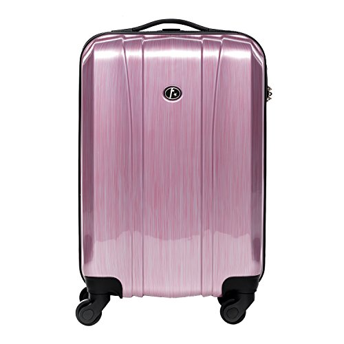 FERGÉ Handgepäck-Koffer Hartschale Dijon Bordgepäck Rollkoffer 55 cm Reisekoffer Kabinen-Trolley 4 Rollen 100% ABS & PC pink