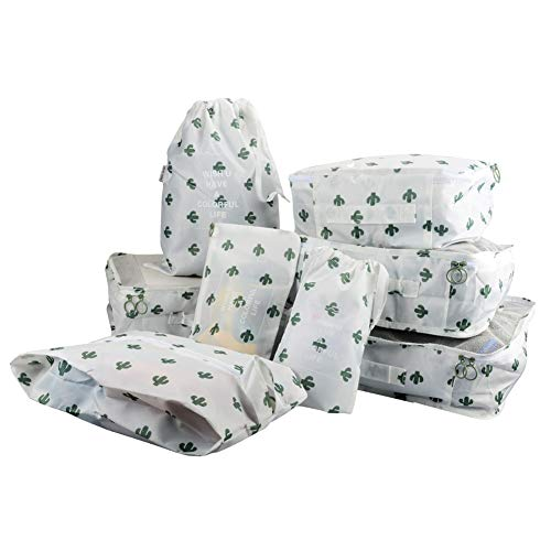8 in 1 Kleidertaschen Set Koffer Organizer Reise Kleidertaschen Reisetasche in Koffer Wäschebeutel Schuhbeutel Kosmetik Aufbewahrungstasche Farbwahl Kaktus EINWEG