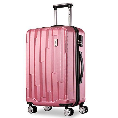 Flieks Hartschale Trolley Koffer Reisekoffer Zwillingsrollen Kofferset 3-teilig mit Zahlenschloss Handgepäck mit 4 Doppel-Rollen, XL-L-M Pink, 20″