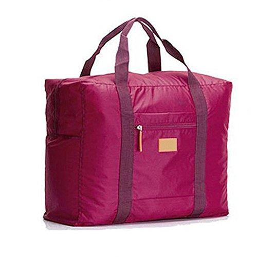 Cestval Reisetasche Kleidertasche Wasserdichte Aufbewahrungstasche Nylon Tasche für Reise Große Kapazität Faltbare Bag Storage Wandern Sport Urlaub Outdoorrot