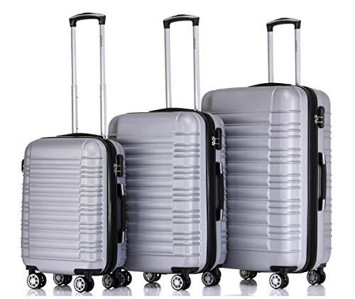BEIBYE 2088 Zwillingsrollen Reisekoffer Koffer Trolleys Hartschale M-L-XL-Set in 13 Farben Silber, Set