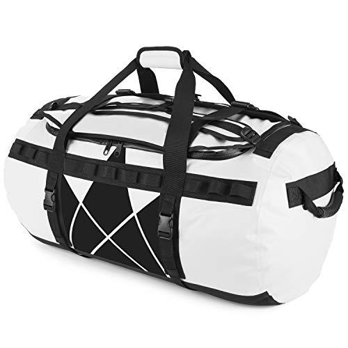 Rucksackfunktion – The Friendly Swede Reisetasche Duffle Bag – Sporttasche Travel Bag – Duffel Bag Rucksack 30L/60L/90L – SANDHAMN Weiß, Kronenprint 90L