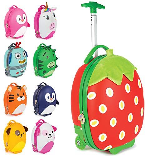 Boppi Tiny Trekker Leichter Kinderreisetrolley zum Ziehen mit Rädern in Handgepäckgröße 17 Liter Fassungsvermögen – Erdbeere