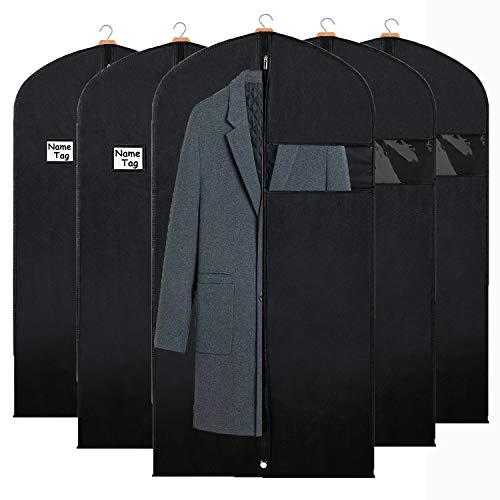 Syeeiex Kleidersäcke für Kleideraufbewahrung und Reisen, Ausweishalter für Anzug, Lange Jacke, Kleider, Mantel 4PCS 127cm x 60cm