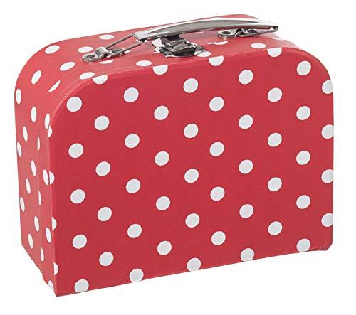 Bieco Kinderkoffer mit Dots Motiv, Koffer aus Pappe, Metall Tragegriff, Köfferchen für Kinder, Kindergepäck, 21×30 cm, rot, 04003028