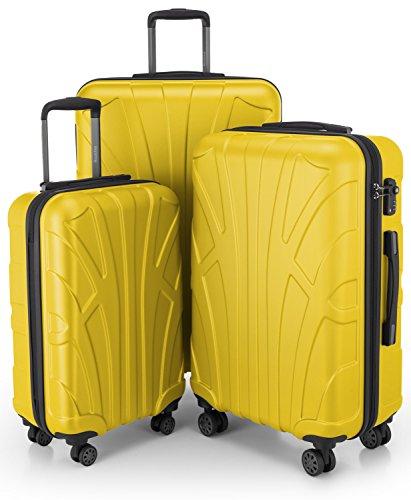 SUITLINE – 3er Koffer-Set Trolley-Set Rollkoffer Hartschalen-Koffer Reisekoffer, TSA, S, M & L, Koffer-Set, 76 cm, 210L, Gelb