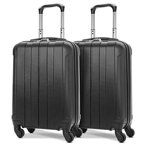EONO Essentials Leichter 55cm ABS Hartschalenkoffer Reisetrolley Handgepäck Koffer mit 4 Rädern, zugelassen für Ryanair, easyJet, British Airways, Flybe und mehr, 2 Teile Gepäck Set, schwarz