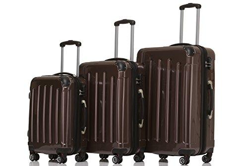 BEIBYE Zwillingsrollen 2048 Hartschale Trolley Koffer Reisekoffer Taschen Gepäck in M-L-XL-Set Coffee, Set
