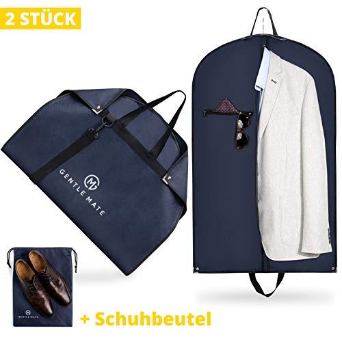 Gentle Mate® 2er Set Premium Kleidersäcke mit Schultergurt inklusive Schuhbeutel – hochwertige Anzugtasche Kleidertasche Business für Reisen und Aufbewahrung von Anzügen, Hemden Anzugsack Herren