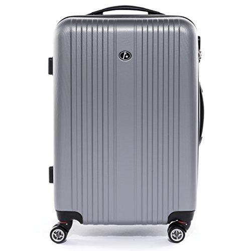 FERGÉ Handgepäck-Koffer Hartschale Toulouse Bordgepäck Rollkoffer 55 cm Reisekoffer Kabinen-Trolley 4 Rollen 100% ABS Silber