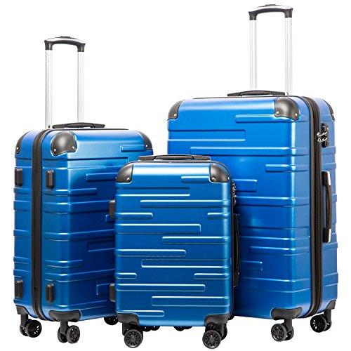 COOLIFE Hartschalen-Koffer Rollkoffer Reisekoffer Vergrößerbares Gepäck Nur Großer Koffer Erweiterbar ABS Material mit TSA-Schloss und 4 Rollen Blau, Koffer-Set