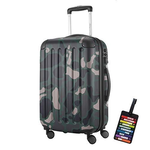 Spree Hartschalen-Koffer-XL Koffer Trolley Rollkoffer Reisekoffer Erweiterbar, 4 Rollen, TSA, 75 cm, 119 Liter, Camouflage +Design Kofferanhänger – Hauptstadtkoffer