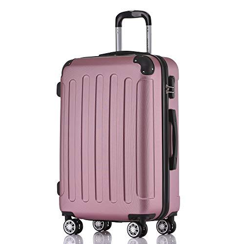 BEIBYE Hartschalen-Koffer Trolley Rollkoffer Reisekoffer Handgepäck 4 Rollen M-L-XL-Set Rosa, XL