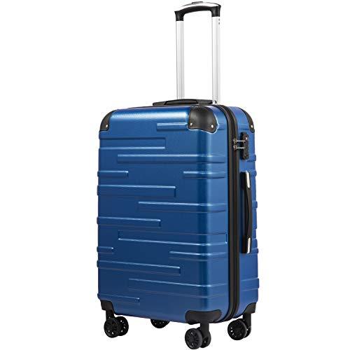 COOLIFE Hartschalen-Koffer Rollkoffer Reisekoffer Vergrößerbares Gepäck Nur Großer Koffer Erweiterbar ABS Material mit TSA-Schloss und 4 Rollen Blau, Handgepäck