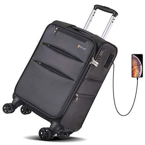 55 X 37 X 20CM – REYLEO 20 Zoll Handgepäck Koffer 8-Rad-Reisekoffer mit USB-Ladeanschluss und TSA-Schloss – LUG20B – 35L