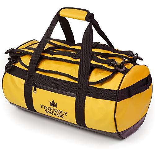 Sporttasche Travel Bag – SANDHAMN Gelb 30L – The Friendly Swede Reisetasche Duffle Bag – Rucksackfunktion – Duffel Bag Rucksack 30L/60L/90L