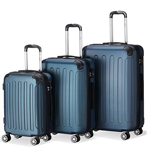 Flexot 2045 3er Reisekoffer Set – Farbe Blau Größe M L XL Hartschalen-Koffer Trolley Rollkoffer Reisekoffer 4 Rollen