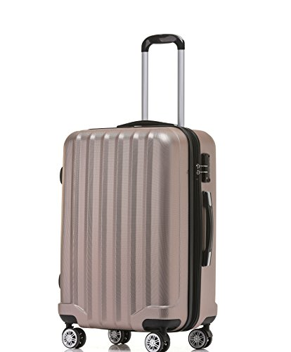 BEIBYE TSA-Schloß 2080 Hangepäck Zwillingsrollen neu Reisekoffer Koffer Trolley Hartschale Set-XL-L-MBoardcase Rosa Gold, XL
