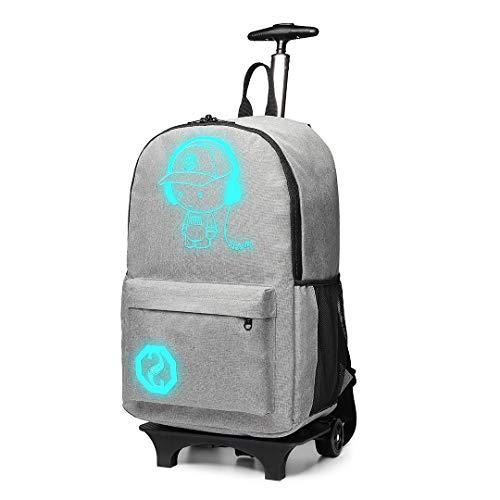 Kono Handgepäck Rucksack Tasche mit Rollen Business Trolley Reisetasche für Laptop Polyester Schwarz Grau